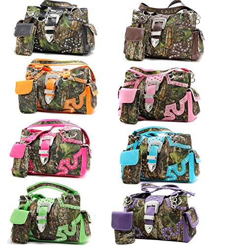Western Belt Buckle Concealed Carry Gun Weapon Handbag Purse Camo Camouflage Cell Phone Cover Free Bracelet