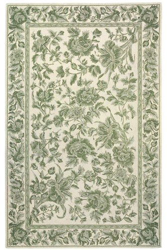 "Toile Area Rug, 1'9""x2'9"", GREEN"