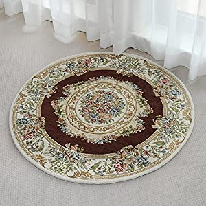 Ustide living room brown round rug floral for Cheap small round rugs