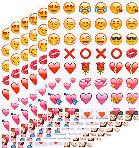 Emoji Sticker Pack – 288 of the Most Popular Smiles Hearts Hugs and Kisses Emoji stickers on 6 Pages – as seen on the iPhone, Twitter, Instagram, Facebook and more – Waterproof and Removable