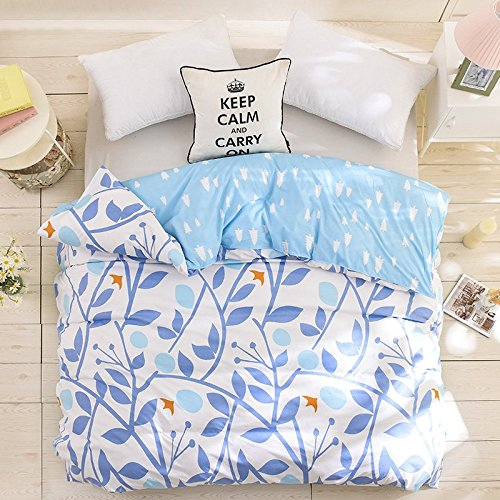 Zhiyuan Branch & Bird Reversible White and Light Blue Duvet Cover Comfortor Case, Queen (Branches Duvet Cover compare prices)