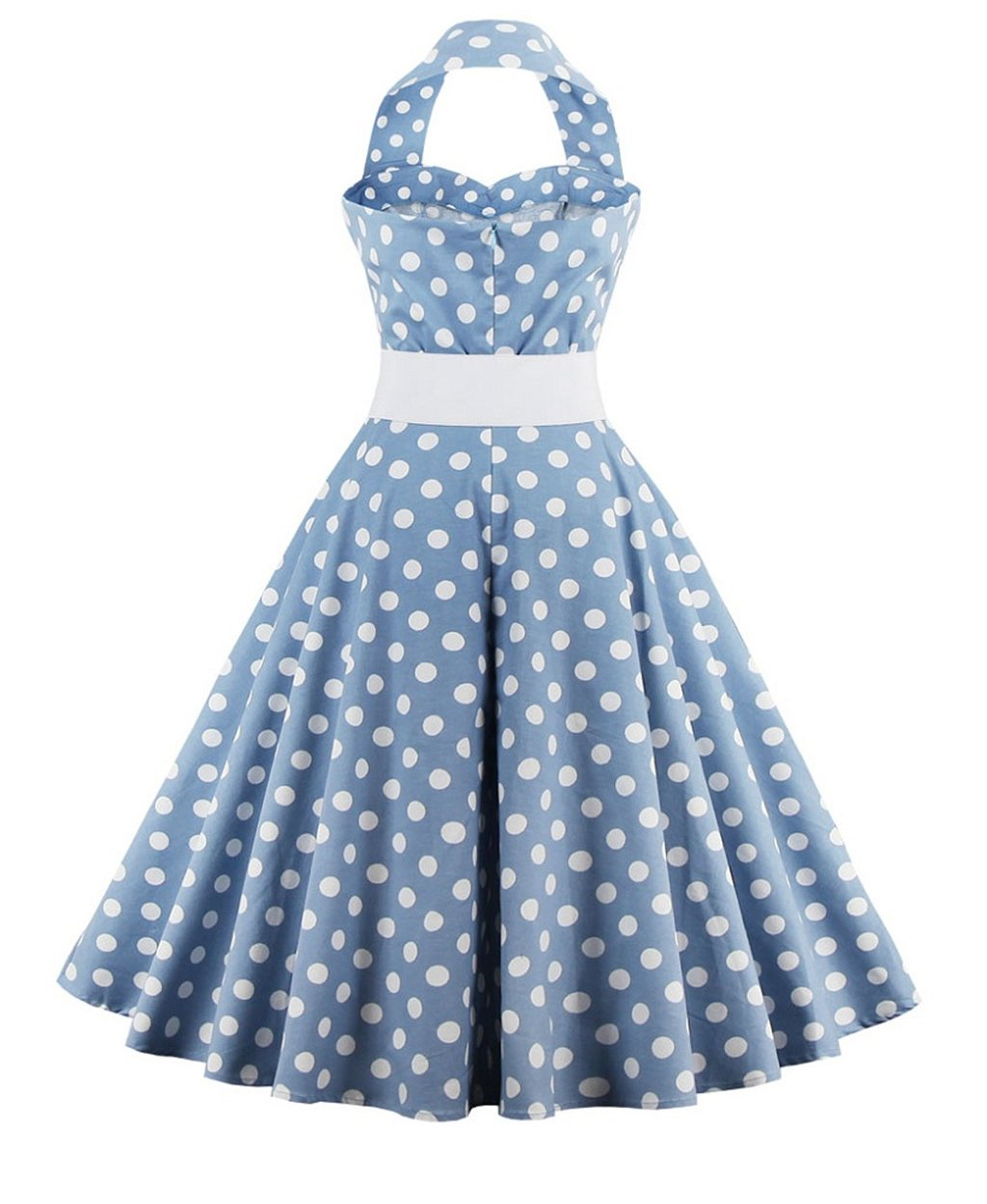 ZAFUL Women's 50s Vintage Polka Dots Halter Swing Dress Party Gown with Belt 1