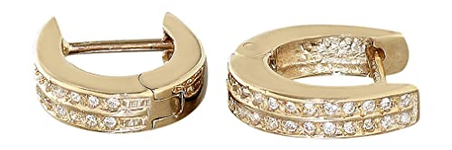 Hobra Solid Creole Earrings 585Gold with Zirconia Creole Earrings Gold Earrings-Gold