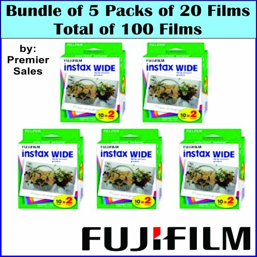 Bundle 5 packs of 20 Fujifilm Instax Wide format Film (100 photos) for Fuji Instax 210 camera Black Friday & Cyber Monday 2014
