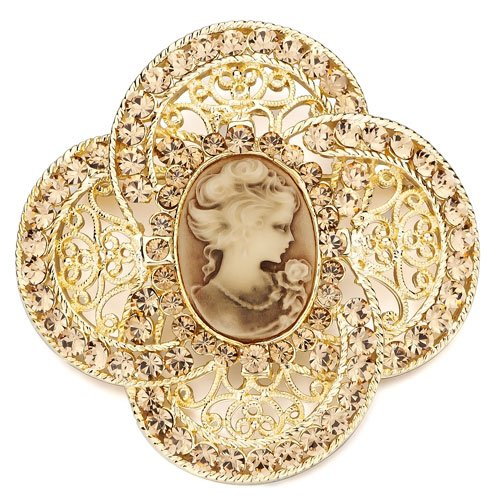 Pugster Elegant Topaz Yellow Swarovski Crystal Victorian Beautyes Brooches And Pins