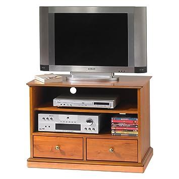 Mueble para TV y cadena de música con ruedas - Merisier Louis Philippe