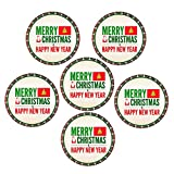 Christmas Gifts HomeSoGood Christmas And New Year Party White Round Ceramic Coaster (Pack Of 6)