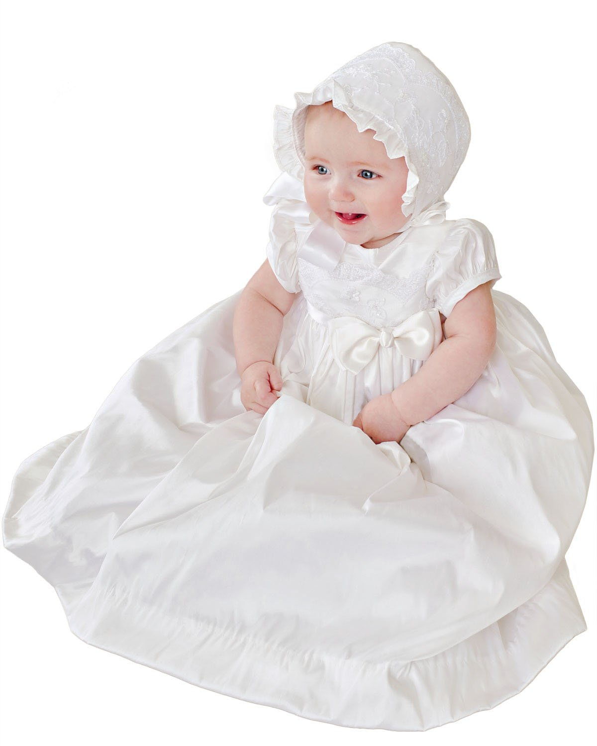 Isabella Silk and Lace Christening or Baptism Gown for Girls