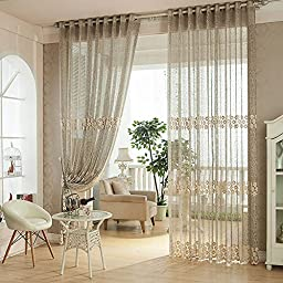 YouYee Fashionable Window Curtains(2 Panels)Home Fashions Elegant Semi Sheer Ruffled Window Curtain Panels Treatments