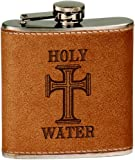 Holy Water Stainless Steel 6 oz. Flask - Leather Cover