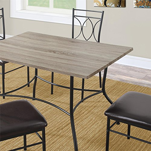 Dorel Living 5 Piece Rustic Wood and Metal Dining Set