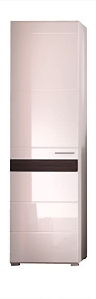 Maisonnerie 1280-127-12 Armoire Commode Meuble Mezzo en blanc/ blanc ultrabrillant / chêne Melinga foncé LxHxP 55 x 195 x 38 cm