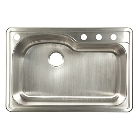 "Kindred FBSLG904-18BX 9"" Deep Stainless Steel Single Bowl Topmount Sink, 18 g"