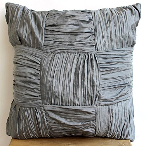 Dreamy Silver Gray - 18X18 Inches Square Decorative Throw Pillow Covers In Textured Dull Gray Silver Crushed Silk Fabric front-1047608