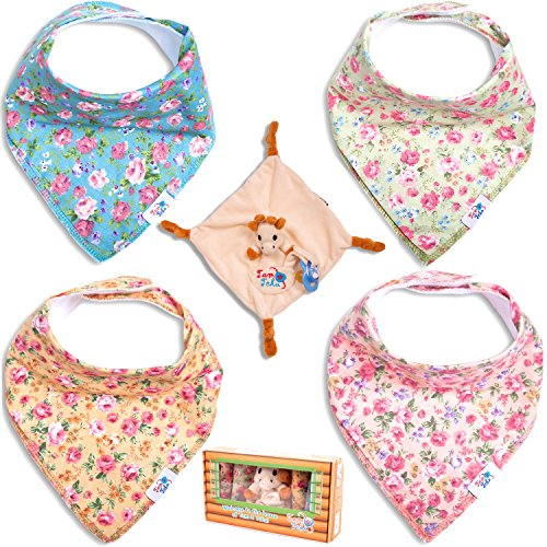 4 Baby Bandana Drool Bibs by TamTchu: Drooling, Teething, or Feeding, 100% Cotton with Fleece Back, Floral Bib Set for Girls plus Small Giraffe Blanky (Cutest Baby Girl Clothes compare prices)