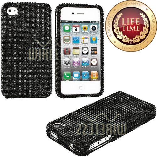 "myLife (TM) Carbon Black - Rhinestone Series (2 Piece Snap On) Hardshell Plates Case for the iPhone 4/4S (4G) 4th Generation Touch Phone (Clip Fitted Front and Back Solid Cover Case + Rubberized Tough Armor Skin + Lifetime Warranty + Sealed Inside myLife Authorized Packaging) ""ADDITIONAL DETAILS: This two piece clip together case has a rhinestone encrusted gloss surface and that is textured w at Amazon.com"