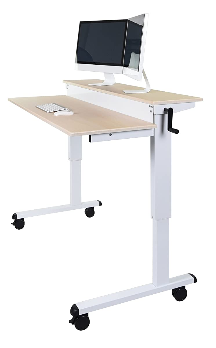 "Crank Adjustable Sit to Stand Up Desk with Heavy Duty Steel Frame (48"", White Frame/Birch Top)"
