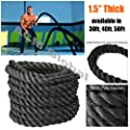 """Battle Rope NEXPro - Poly Dacron Undulation Rope Exercise Fitness Training MMA - 1.5"""" width Avail. in 30ft, 40ft, 50ft Length BLACK from NEXPro"""