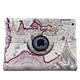 Auto Sleep/Wake Function 360 Degree Rotating Smart Case Cover for 9.7 inch iPad Air/ iPad 5 with a Stylus as a Gift--World Map Pattern,Purple