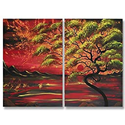 Neron Art - Handpainted Landscape Oil Painting on Gallery Wrapped Canvas Group of 2 pieces - Oviedo 16X12 inch (41X30 cm)