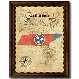 Tennessee State Vintage Map Flag Art Custom Picture Frame Office Wall Home Decor Cottage Shabby Chic Gift Ideas
