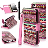 iPhone 5C Case, iPhone 5C Flip Case – E LV Deluxe Tribal print PU Leather Wallet Purse Flip Folio Stand Case Cover for iPhone 5C with 1 Stylus and 1 Clear Screen Protector Reviews