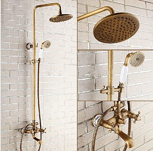 GOWE High-end Retro Style Bathroom Rainfall Exposed Shower Set Faucet Antique Brass Dual Handles Bath and Shower Mixer Taps (High End Mixers compare prices)