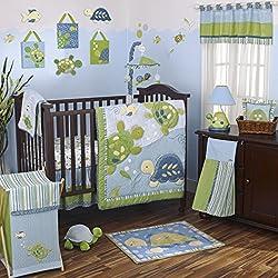 CoCaLo Turtle Reef 8 Piece Crib Bedding Set, Aqua/Green