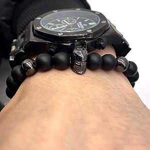 KOKOSHELL Knight Batman Men Charm Bracelets Black Nature Stone Bracelet