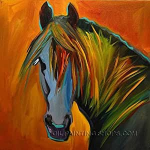 Stretched framed wall art cheap animal horse for Oil paintings for sale amazon
