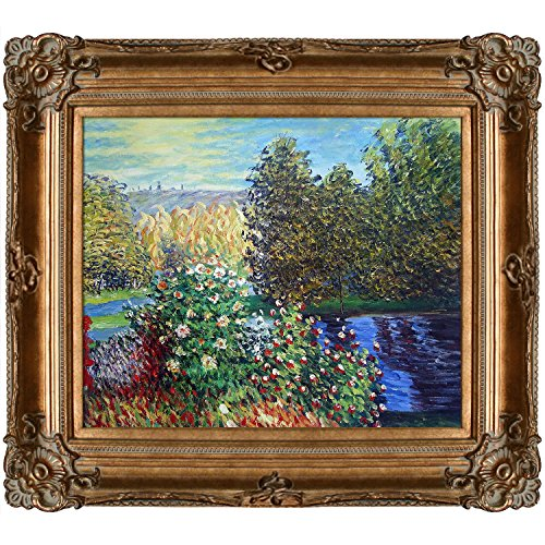overstockArt Corner of The Garden at Montgeron by Claude Monet Canvas Art, Renaissance Bronze Frame/Finish (Renaissance Painting compare prices)