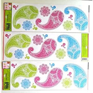 Wall Stickers for Kids or Adults Art Applique Set of 3 Colorful Paisley Designs