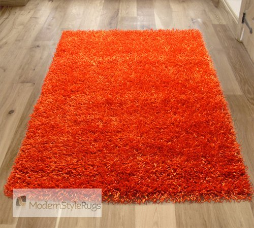 Bright Orange Colour Design Funky Shaggy Rug - Great Colours - These Are Available In 3 Great Large Room Sizes - Thick Shag Pile - Stain Resistant - Heavy Duty Backing - Grab These Fast Before They Go..., 150 x 210cm