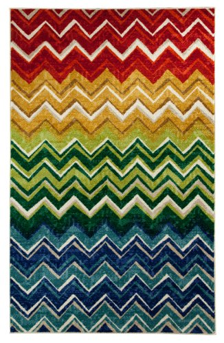 Mohawk Home Rainbow Zig Zag Area Rug, 96 By 120-Inch, Multi front-79134