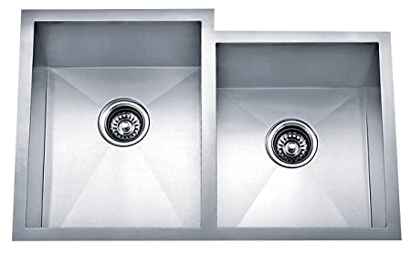 Dakota Signature Series Offset Double Bowl Zero Radius 16g Stainless Steel Sink Package