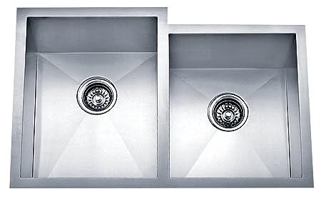Dakota Signature Series Offset Double Bowl Zero Radius 16g Stainless Steel Sink Package