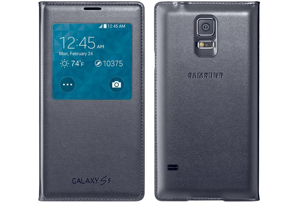 Amazon.com: Samsung Galaxy S5 Case S View Flip Cover Folio, Black ...