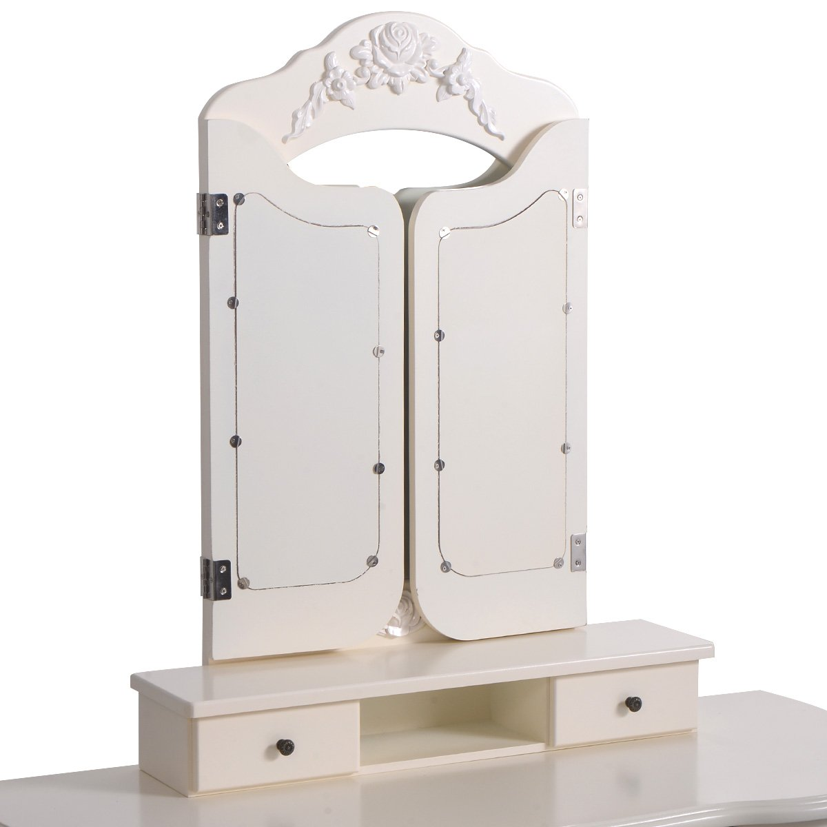Giantex Tri Folding Vintage White Vanity Makeup Dressing Table Set 5 Drawers &stool 3