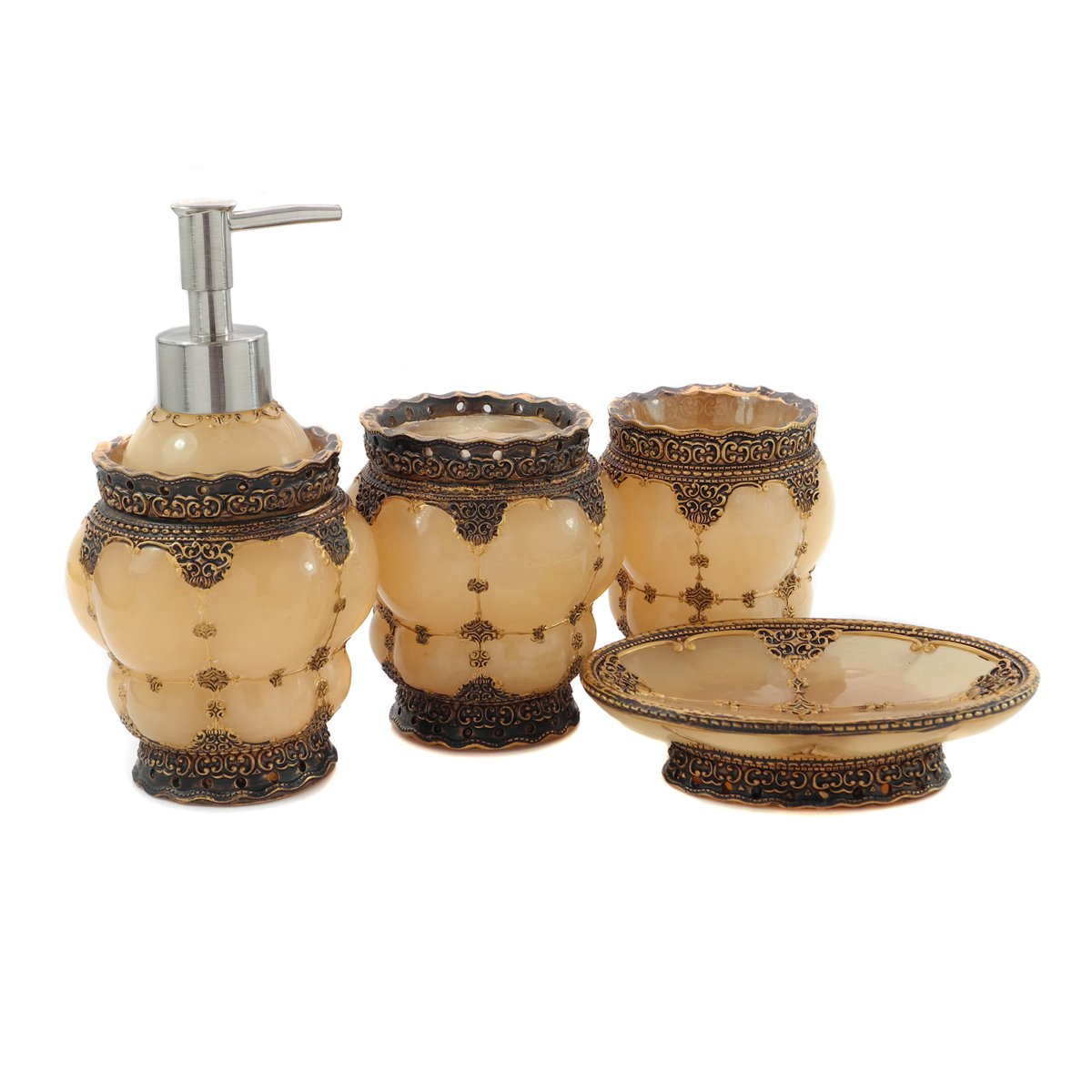 Dream bath royal palace 4 piece bathroom accessories for Bathroom accessories collection