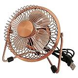 Xialee USB Desk Fan(Powerful Airflow) – Electrocoppering Metal Archaistic Fan – Personal Mini Fan – Small Table Fan, Great for Desktop Tabletop Office & Travle, Copper Color