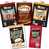 Flavia Quality Mixed Selection Box - 98 Drinks Sachets - Alterra Coffee, The Bright Tea Company - Espresso (20),Galaxy (18),English Breakfast (20),Fabulous Froth Original (20),Smooth Roast (20) - LOW DELIVERY COSTS WITH FREE DELIVERY ON ORDERS OVER £ 50.