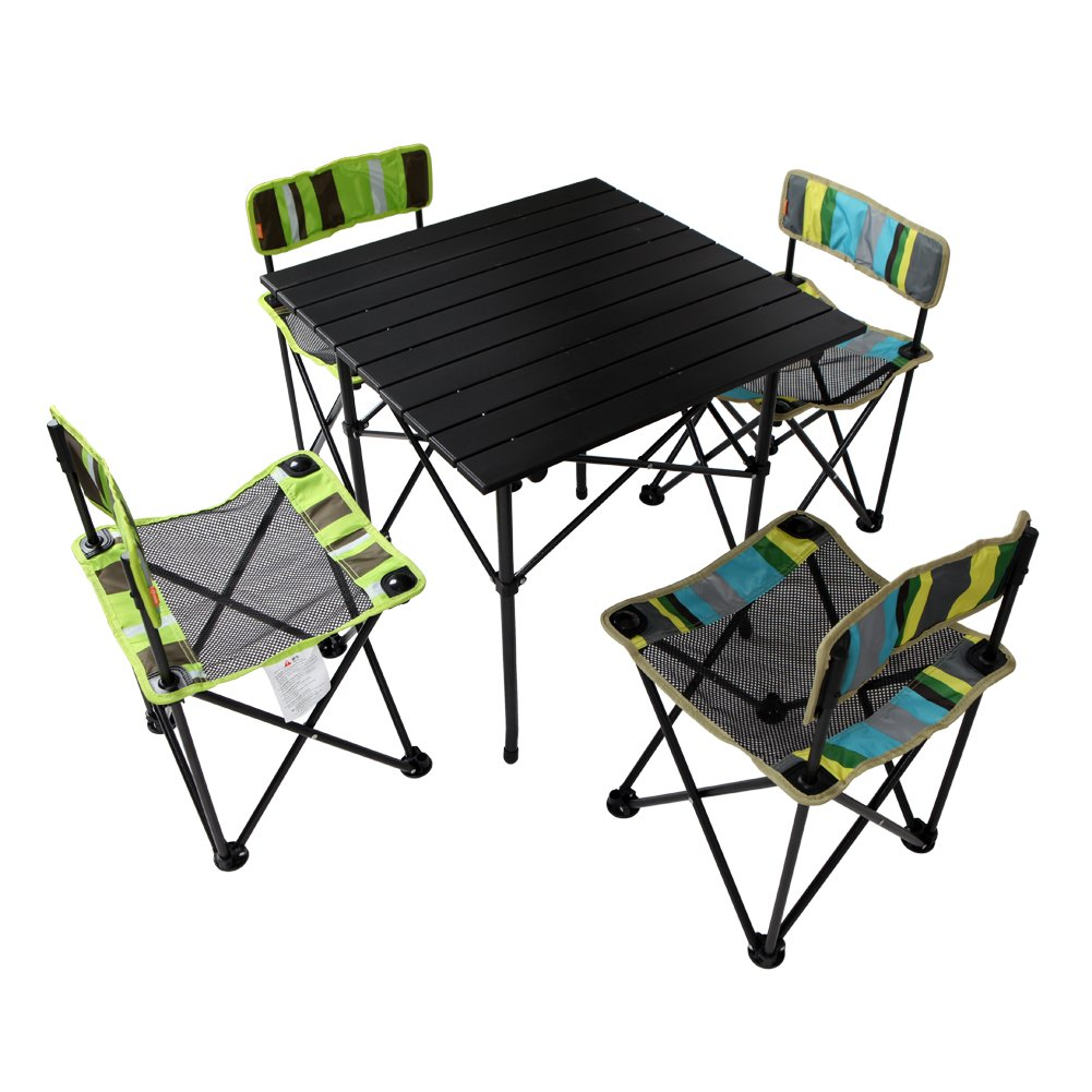 Yodo 5 In 1 Foldable Kids Picnic Table and Chairs Set for Family Outdoor Camp