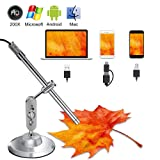 USB Microscope Android Handheld 3 in 1 USB Digital Microscope with 200x Magnification, IP67 Waterproof, 6 LEDs, Support Android OTG Smartphone, PC, Mac