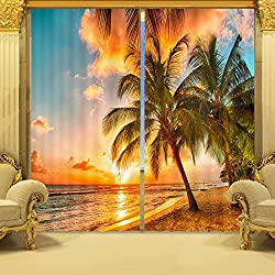"Ammybeddings Coconut Tree in Sunset Print 3D Blackout Curtain,2 Panels (118W*106""L)"