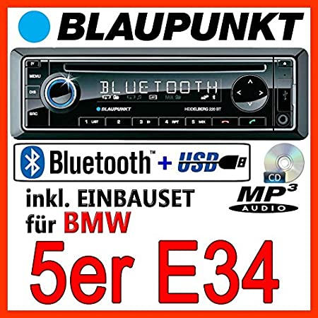 BMW 5er E34 - BLAUPUNKT Heidelberg 220 BT - CD/MP3/USB Autoradio inkl. Bluetooth - Einbauset