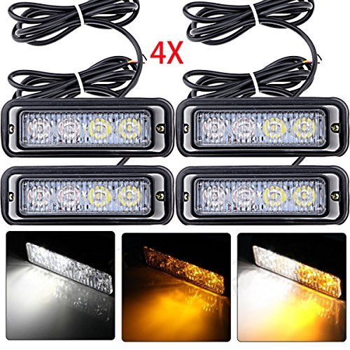 Astra Depot 4-LED White & Amber Waterproof Emergency Beacon Flash Caution Strobe Light Bar 16 different flashing Car SUV Pickup Truck Van (4 pcs) (Amber Led Warning Lights compare prices)