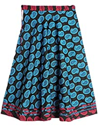 DollsofIndia Blue Paisley Print On Black Cotton Long Skirt - Length 38 Inches - Black, Blue