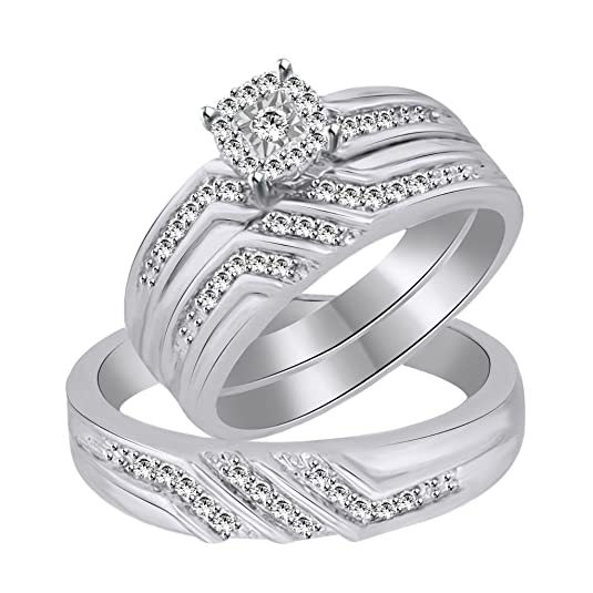 Vorra Fashion New Men's & Woman Design CZ White Platinum Plated 925 Sterling Silver Trio Ring Set
