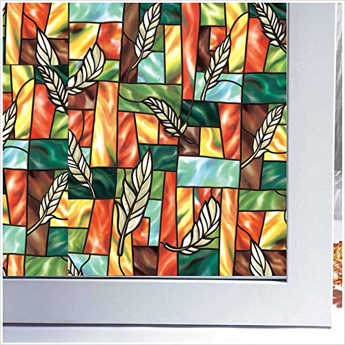 Viclover Non-Adhesive Window Film Cling Privacy Protection Static No Glue Frosted Films Stained Glass Decorative Clings (35.5-by-78.7-Inch, #5) (Temporary Window Tint compare prices)