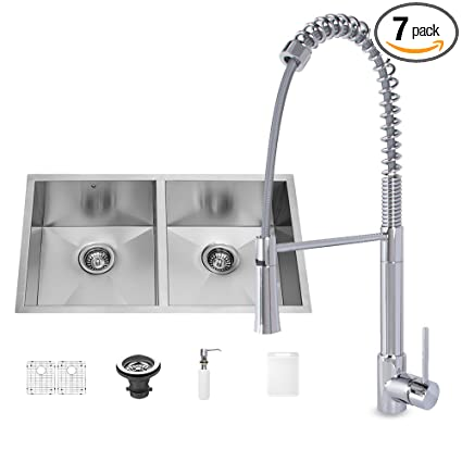 VIGO 32 inch Undermount 50/50 Double Bowl 16 Gauge Stainless Steel Kitchen Sink with Laurelton Chrome Faucet, Two Grids, Two Strainers and Soap Dispenser